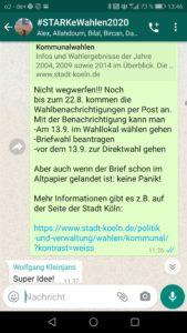 Ein Screenshot von einer Messengernachricht, die Basisinformationen zur Wahl enthält.